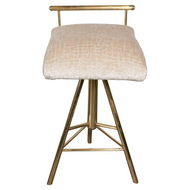 Mid-Century Modern Swivelling Brass Stool with Gauffraged Crocodile Velvet For Sale - Image 10 of 10