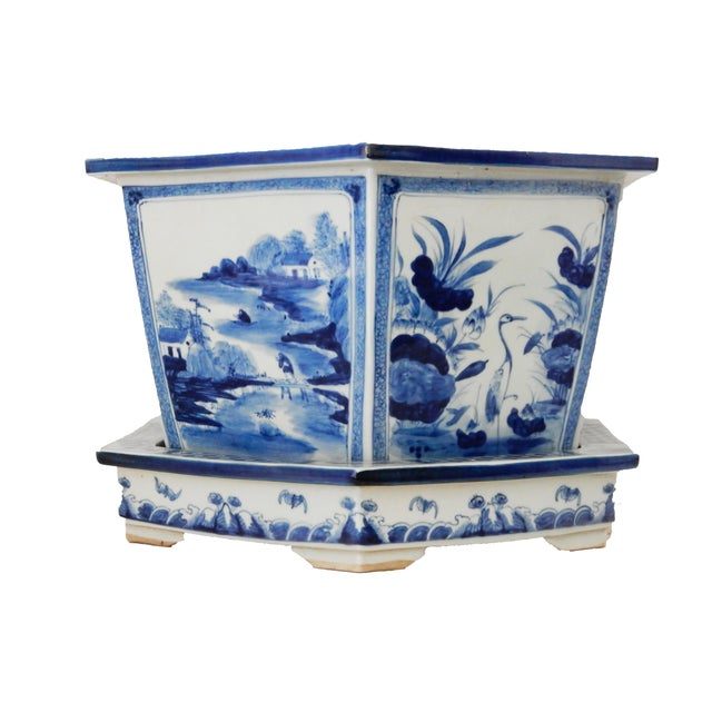 Blue & White Hexagonal Jardiniere - Image 3 of 8