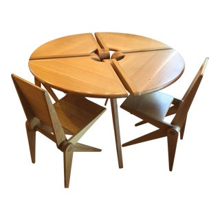 Modern Original Oak Table & Chairs - Set of 5