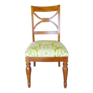 Green and Cream Linen Batik Print Side Chair For Sale