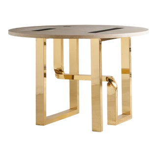 Travertine and Brass Inlay Sculptural Dining Table by Cittone Oggi, Italy 1950s For Sale