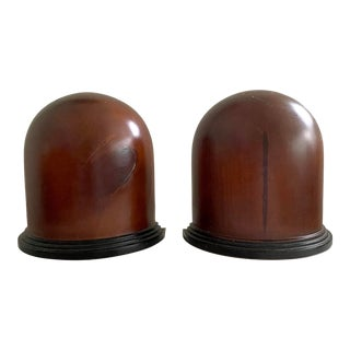 1940s Wooden Mahogany Hat Stretcher Bookends - a Pair For Sale