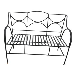 1940s Vintage French Black Wrought Iron Neoclassical Patio Loveseat For Sale