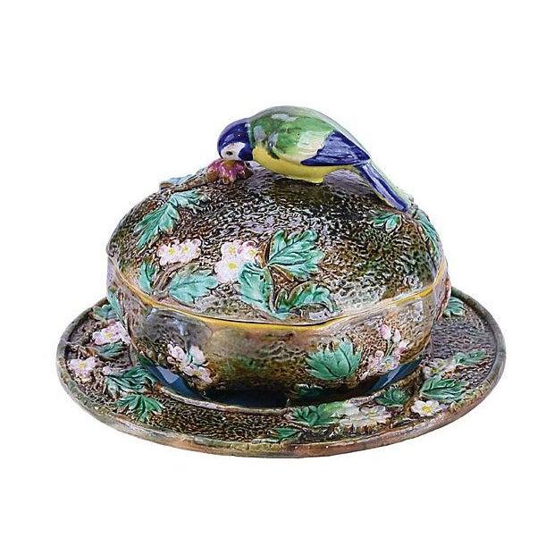 Antique; 19th century, English, George Jones, majolica, three-piece, muffin dish on stand, circa 1875. Brown earthy...