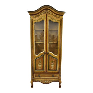 20th Century French Country Drexel Heritage Curio China Display Cabinet For Sale