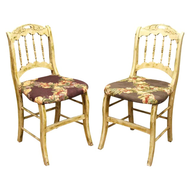 Pair of Wooden Chairs With Floral Seat - Image 1 of 10