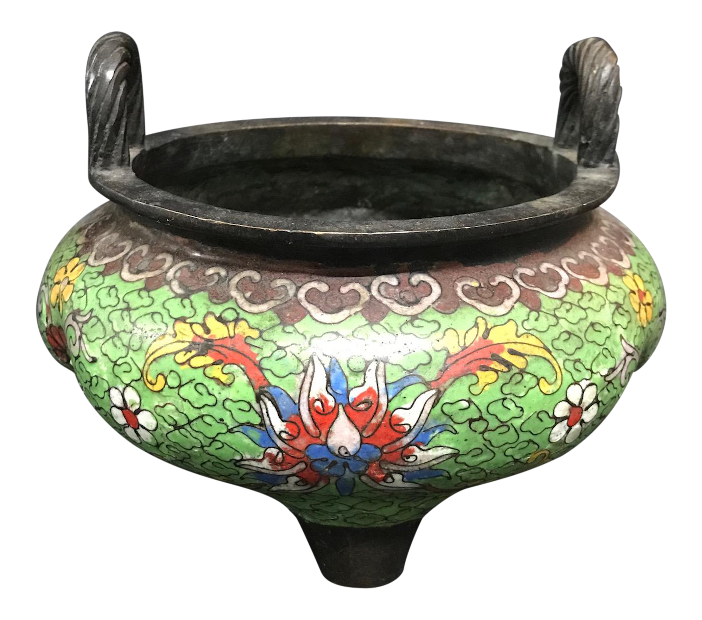 Chinese Art Cloissone And Bronze Incense Burner With Floral Design Chairish