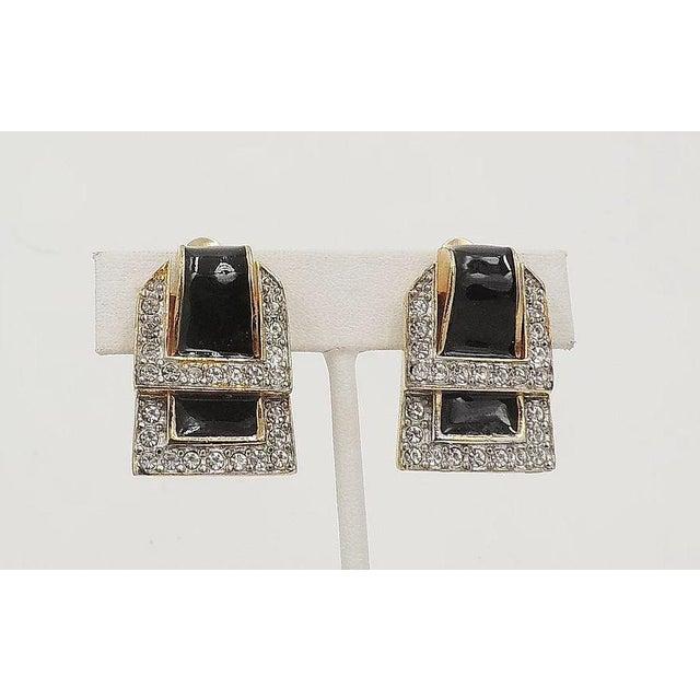 1980s Valentino Black Enamel Buckle Earrings For Sale In Philadelphia - Image 6 of 9