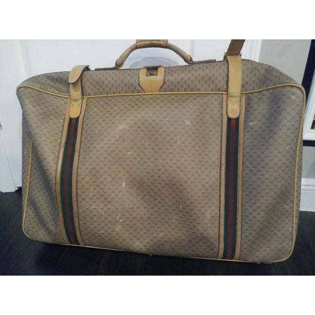 aeaacc8e93b !00% authentic Vintage Gucci large leather suitcase luggage. Nice very  large piece.