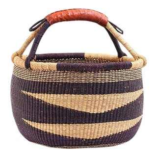 African Bolga Ghana Navy Blue Diamond Woven Basket For Sale
