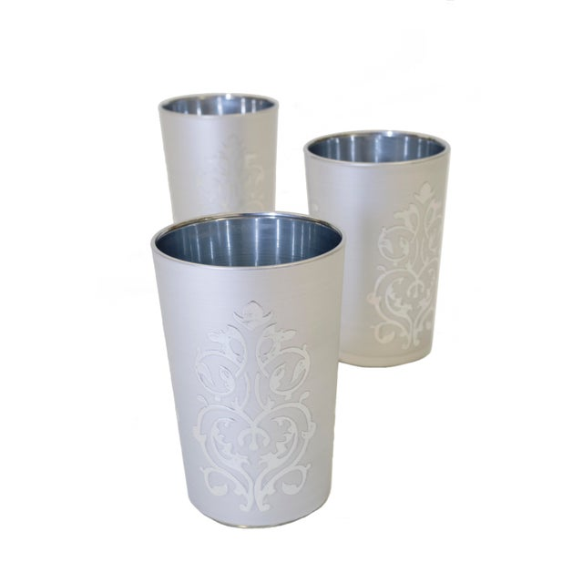Islamic Moroccan Luxury Imilchil Silver Tea Glasses - Set of 6 For Sale - Image 3 of 4