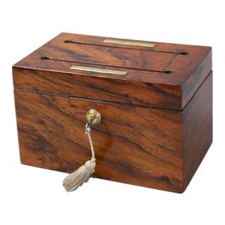 Antique English Rosewood Letter Box W/ Bramah Lock & Key For Sale