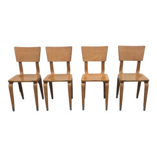 1950s Mid Century Modern Thonet Youth Size Chairs - Set of 4 For Sale