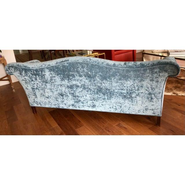 Antique Chippendale Camelback Blue Silk Velvet Down Filled Sofa For Sale - Image 4 of 6