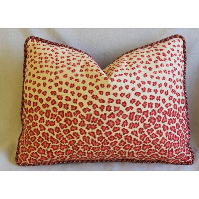 "Early 21st Century Colefax & Fowler Leopard Print & Chenille Feather/Down Pillows 22"" X 16"" - Pair For Sale - Image 5 of 13"