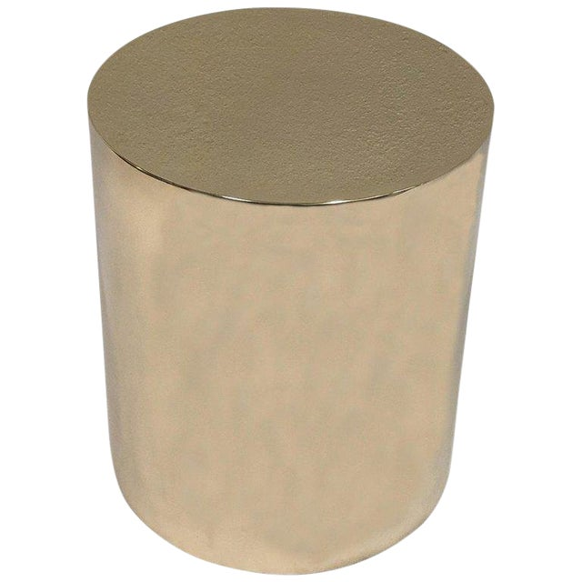 Polish Brass Drum Table by Brueton For Sale