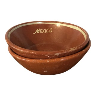 1970s Rustic Terra Cotta Bowls - a Pair For Sale