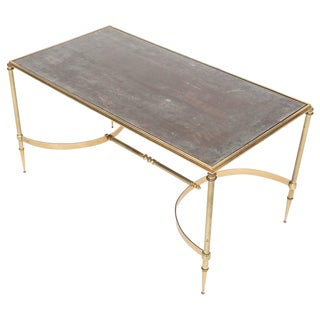 French Brass and Églomisé Glass Top Coffee Table