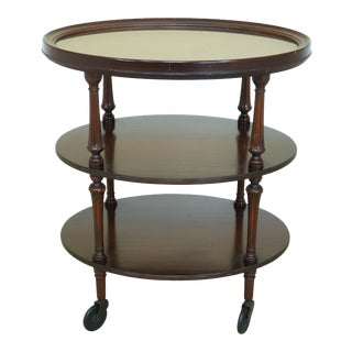 Imperial Vintage Mahogany 3 Tier Serving Cart W. Removable Tray For Sale