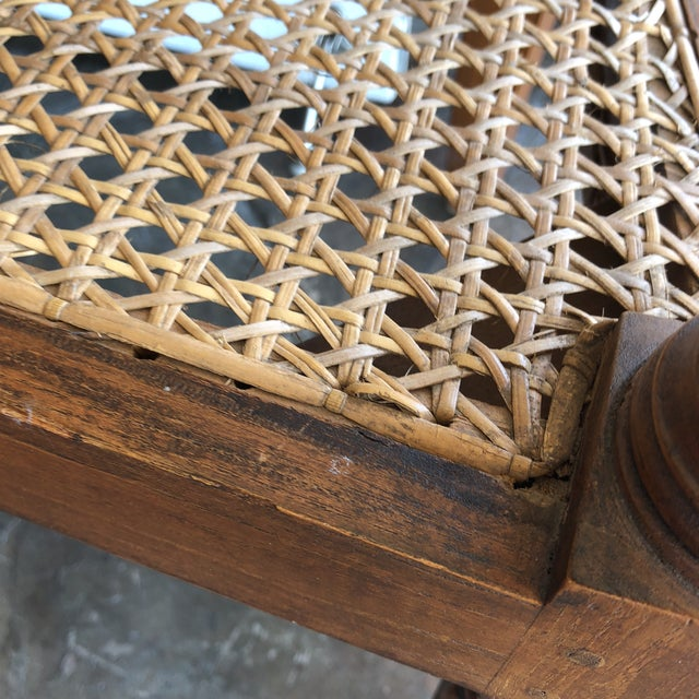 1960s Vintage Hand-Carved Caned Bench For Sale - Image 9 of 12