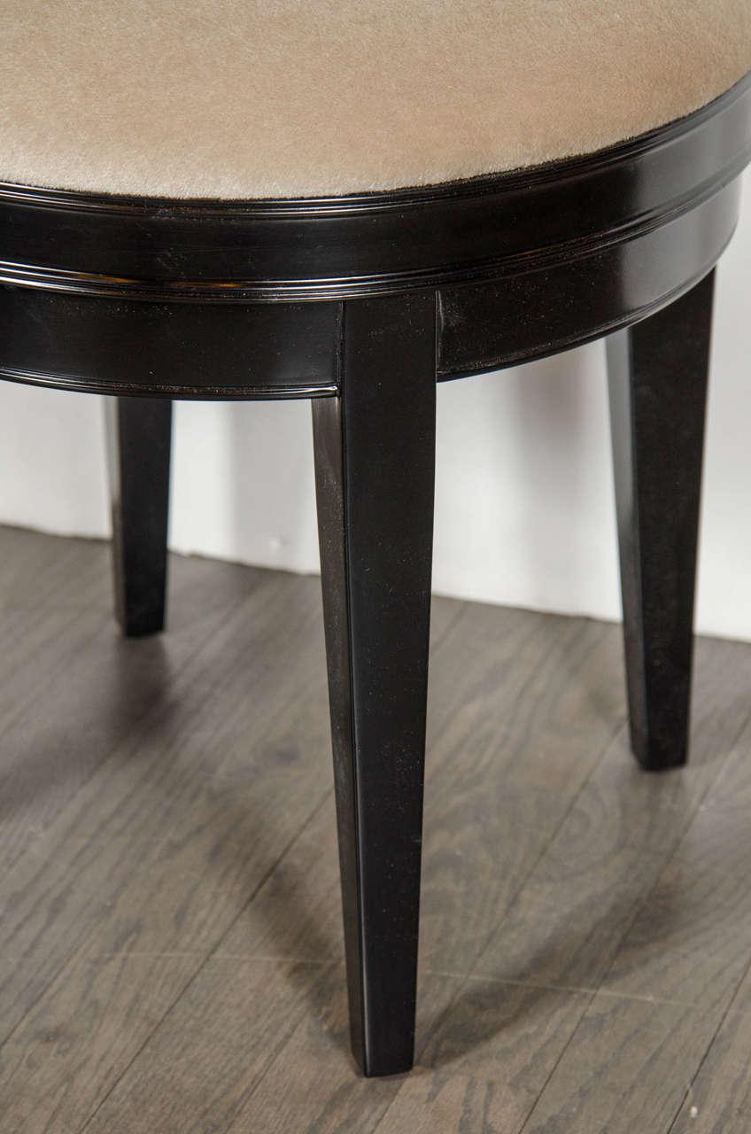 swivel vanity stool makeup vanity art deco swivel vanity stool with camel mohair and ebonized walnut for sale exceptional