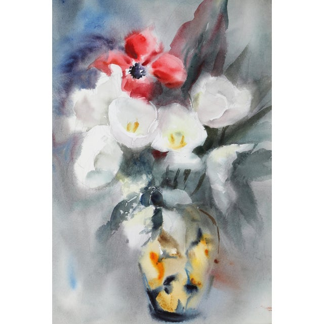 Contemporary Eve Nethercott, Bouquet of Flowers (P4.8), Watercolor on Paper For Sale - Image 3 of 3