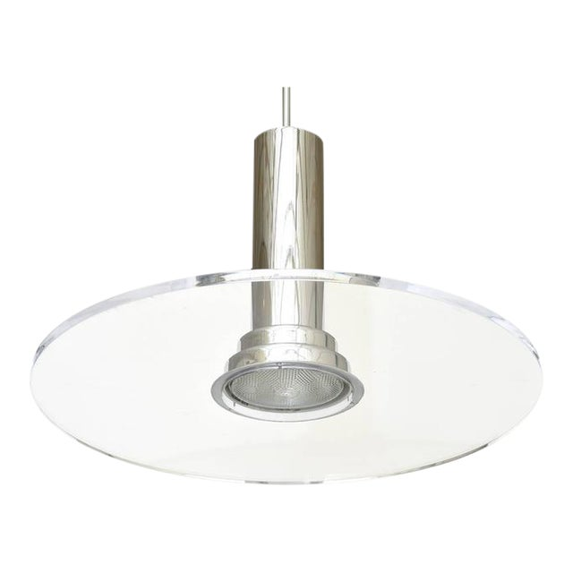 Signed Fredrick Ramond Etched Lucite and Chromed Metal Pendant Light - Image 1 of 9