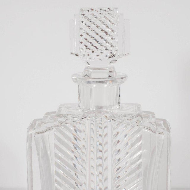 Transparent Exquisite Skyscraper Style Crystal Art Deco Hand-Cut & Beveled Crystal Decanter For Sale - Image 8 of 11