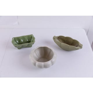 Mid-Century Green Ceramic Catchalls - Set of 3 Preview