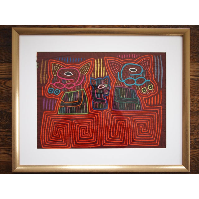 Mid-Century Modern Vintage Mola Animal Tribal Primitive Fabric Wall Hanging For Sale - Image 3 of 3