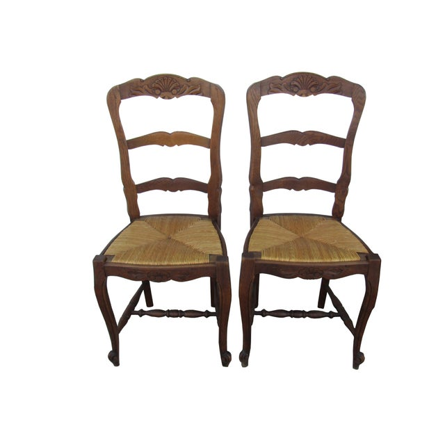 Excellent set of 4 antique French Louis XV style carved oak provincial  ladder-back chairs - Antique French Farmhouse Carved Ladder Back Rush Seat Dining Chairs