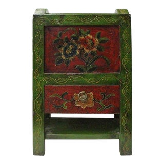 Asian Tibetan Style Handmade Green Red Floral Paint Storage Box Tray For Sale