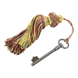 Reduced Shipping! Antique European Key & Tassel For Sale
