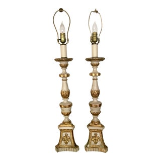 Pair of French Ivory Giltwood Altar Stick Lamps For Sale