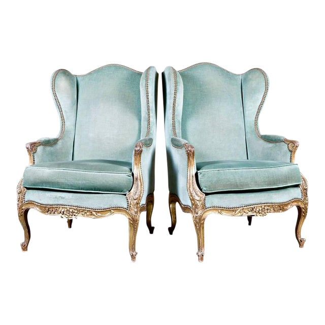 19th Century French Louis XV Style Carved Giltwood Bergeres - A Pair For Sale