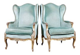 Image of Turquoise Wingback Chairs