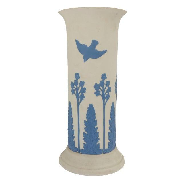 Ecanada White & Blue Art Pottery Vase For Sale