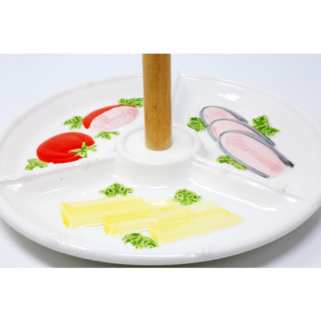 1990s Vintage Vegetable Platter With Bamboo Motif Rim and Wooden Handle For Sale - Image 5 of 9