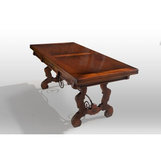 20th Century Spanish Rectory Trestle Table With Built-In Leaves Preview
