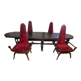 Antique Lodge / Victorian Table & Carved Throne Chair Dining Set For Sale