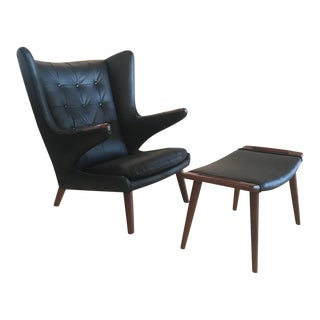 Hans J. Wegner for Ap Stolen Vintage Papa Bear Chair and Ottoman For Sale