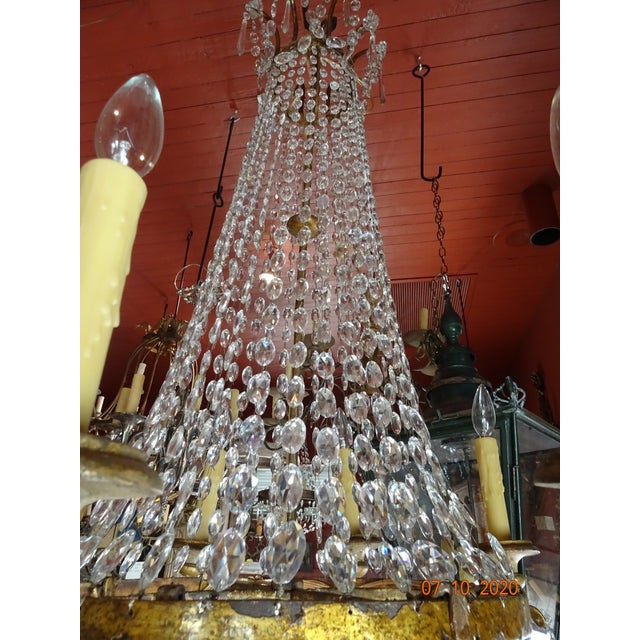 19th Century Italian Crystal and Iron Chandelier For Sale - Image 9 of 13