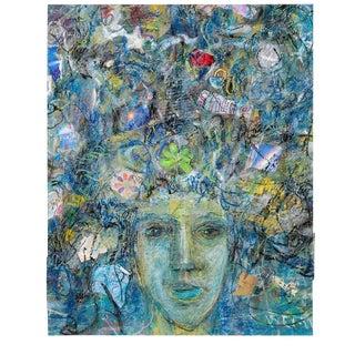 "1990s ""Happy Thoughts"" Ellen Reinkraut Original Mixed Media Painting For Sale"