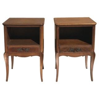 French Wood Side Tables - A Pair
