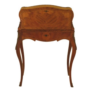 1900s Vintage French Louis XIV Style Inlaid Ormolu Mounted Writing Desk For Sale