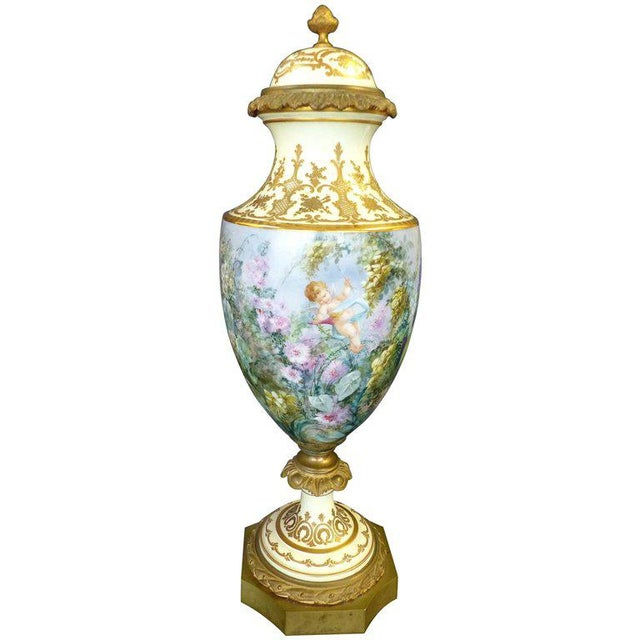 19th Century Hand-Painted Sevres Covered Urn Mounted in Gilt Bronze, Signed For Sale - Image 11 of 11