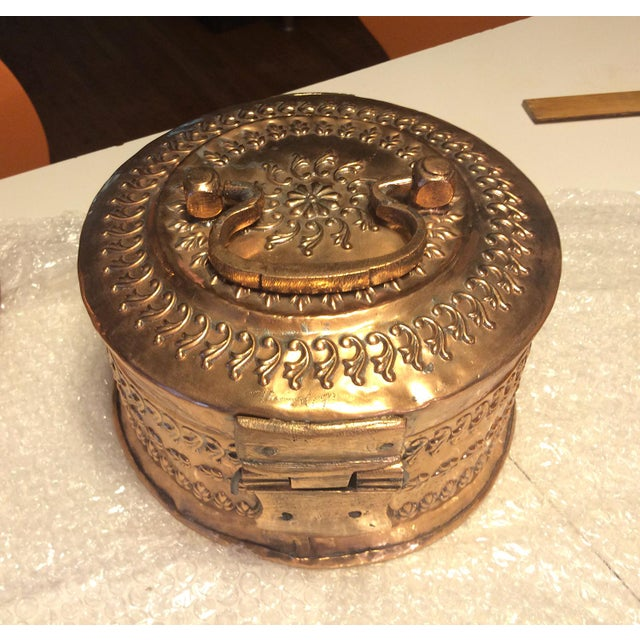 Antique Tinned Copper Repousse Box - Image 4 of 8