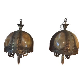 Vintage Ornate Metal & Glass Hanging Lights - A Pair