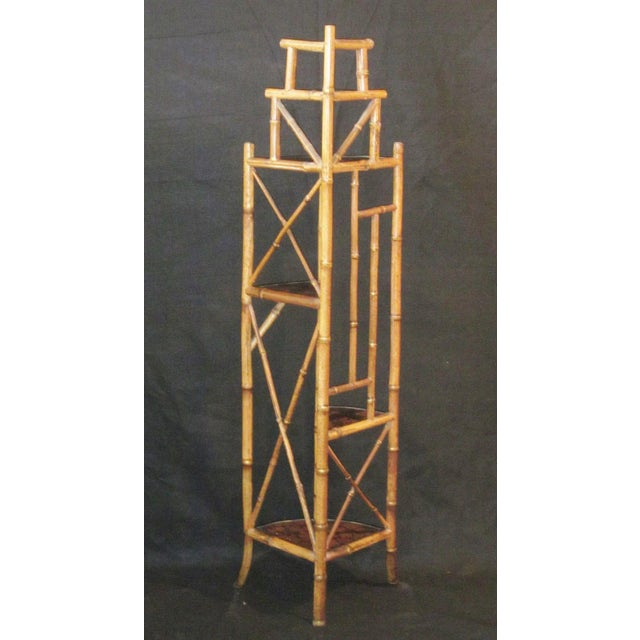 Chinoiserie 1900s Art Nouveau Bamboo Chinoiserie Etagere Shelving Corner Shelf For Sale - Image 3 of 8