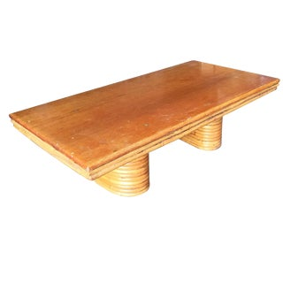 Restored Rectangle Rattan Coffee Table With Mahogany Top and Stacked Base For Sale